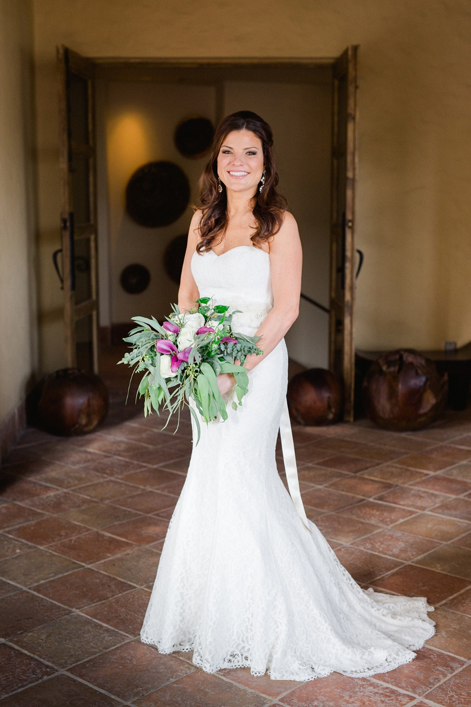 bride in strapless flair fit dress