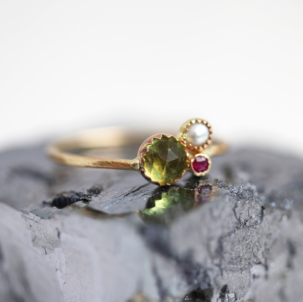 Motherhood: Peridot for Positivity & Creation + Pearl for Patience & Nurturing + Ruby for love. New in the shop. Tomorrow I