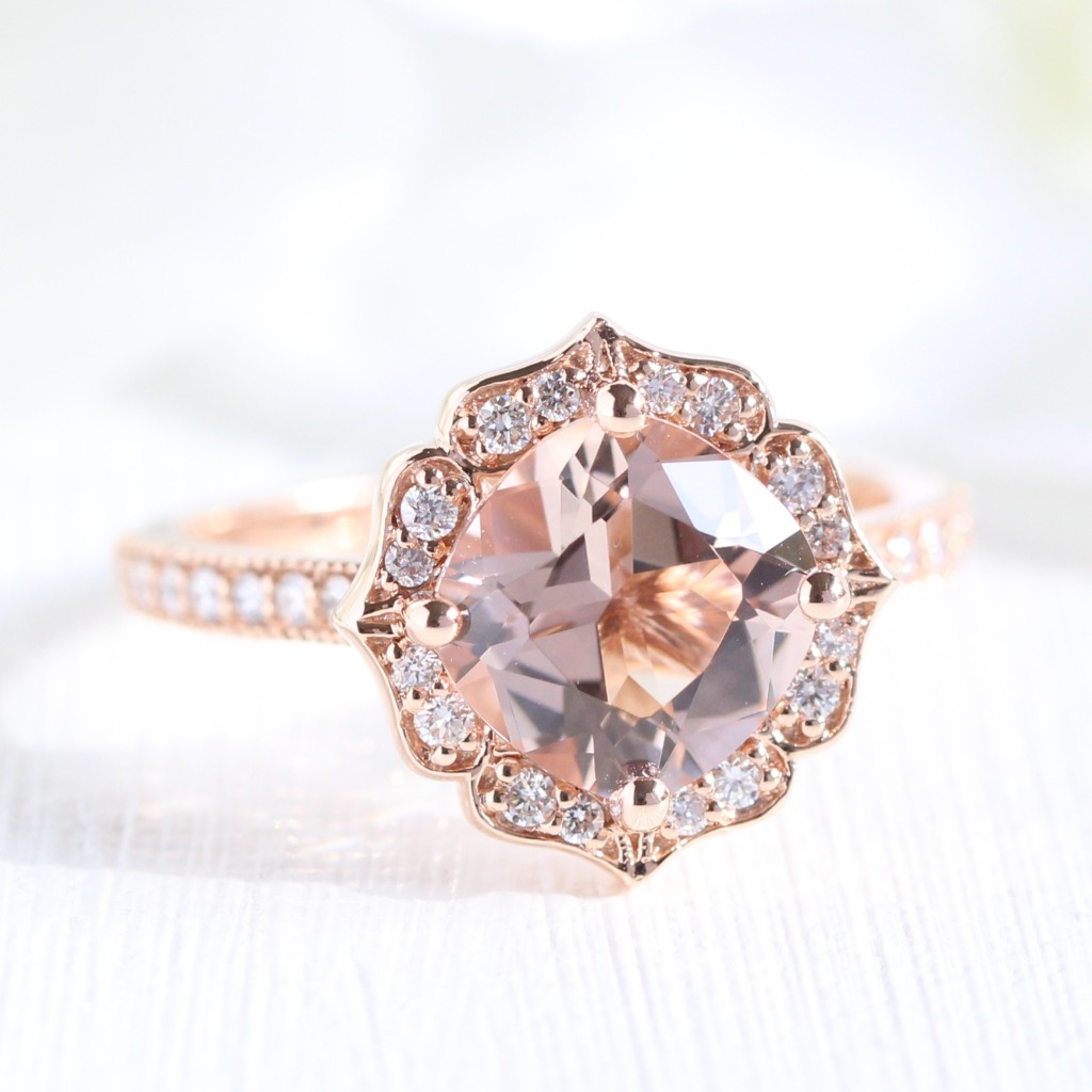 Love peach colored gemstones like Morganite? You'll fall head over heels with La More Design's collection of Morganite engagement rings