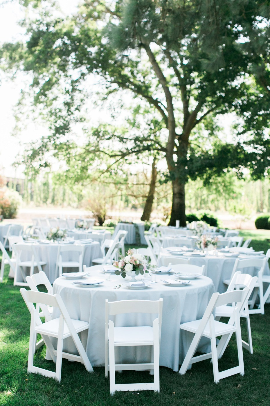 White outdoor reception decor