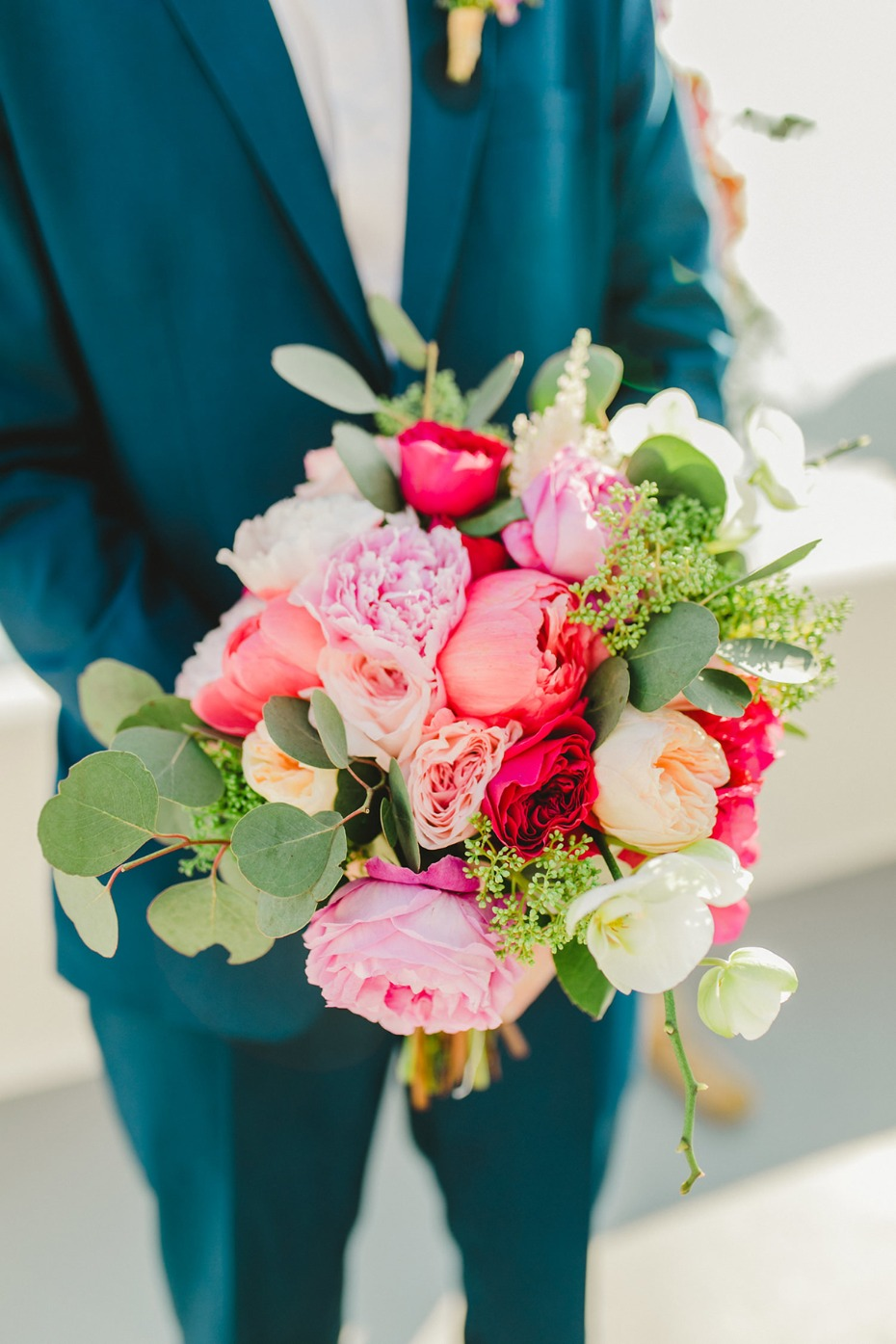 wedding bouquet in assorted pinks