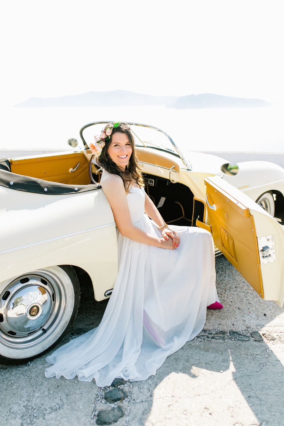 bride in a vintage Porche