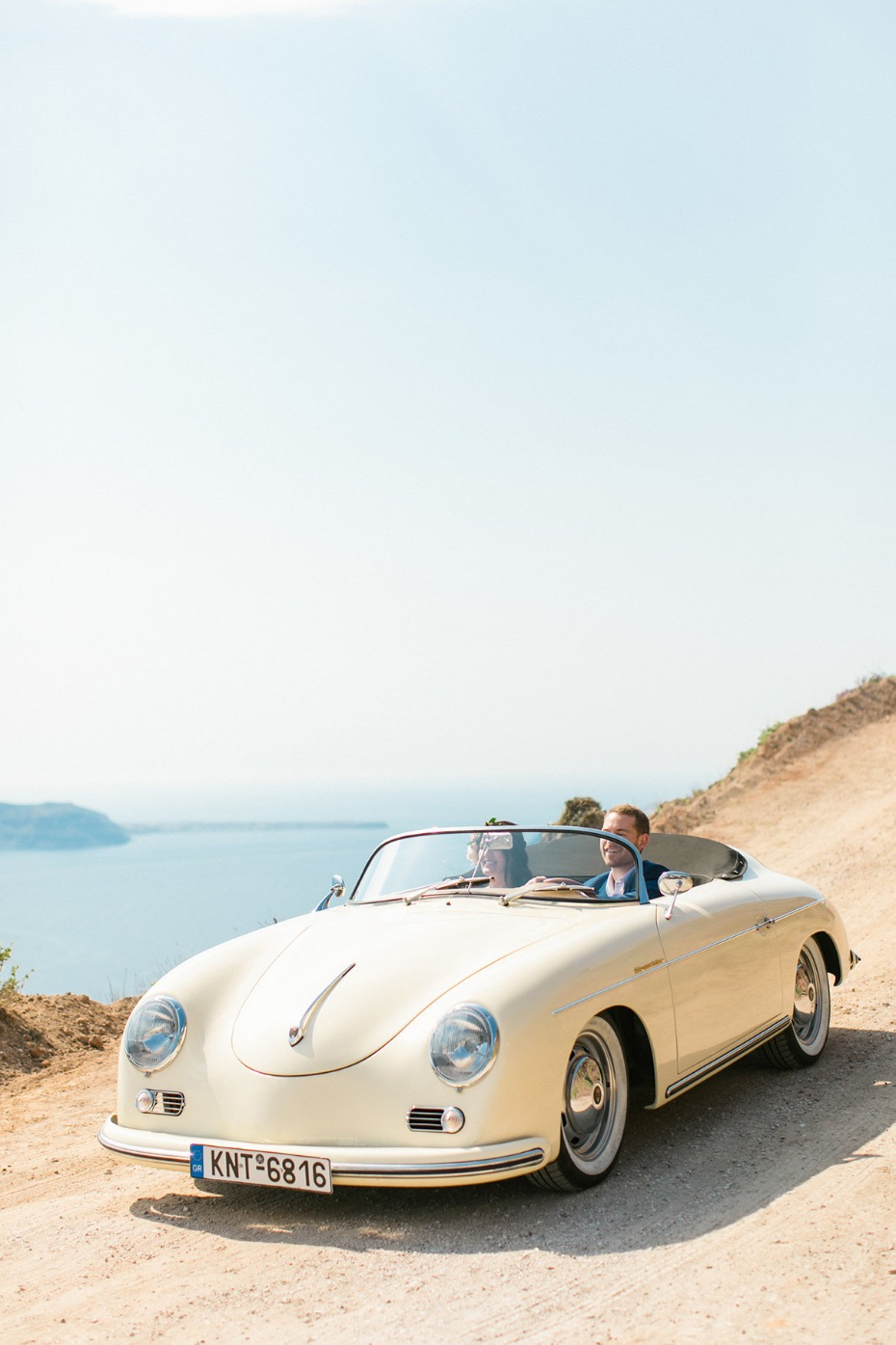 vintage Porsche wedding ride