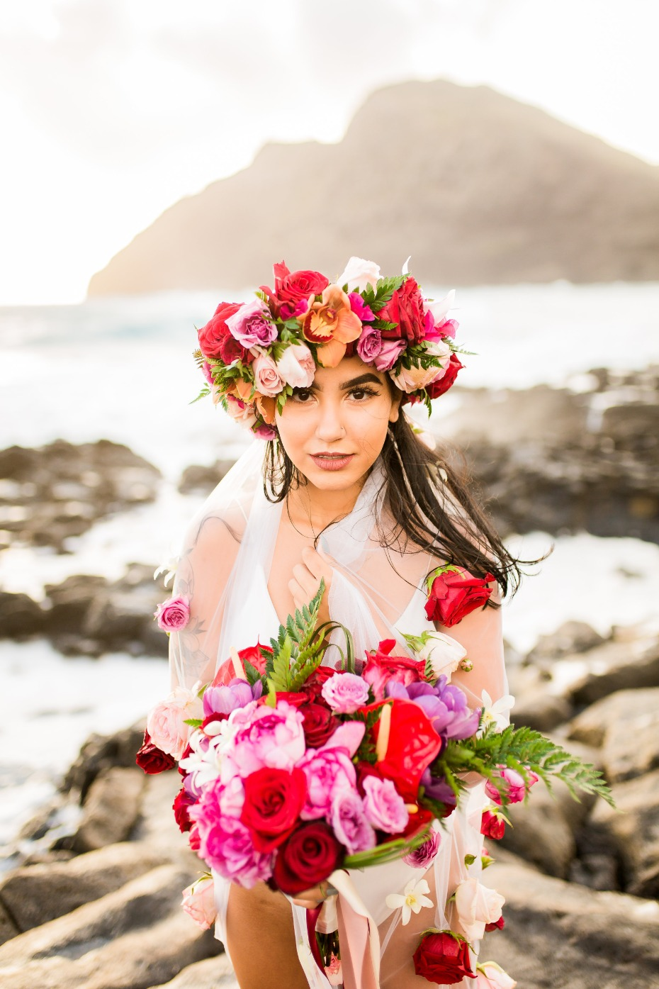 Boho bride in flowers