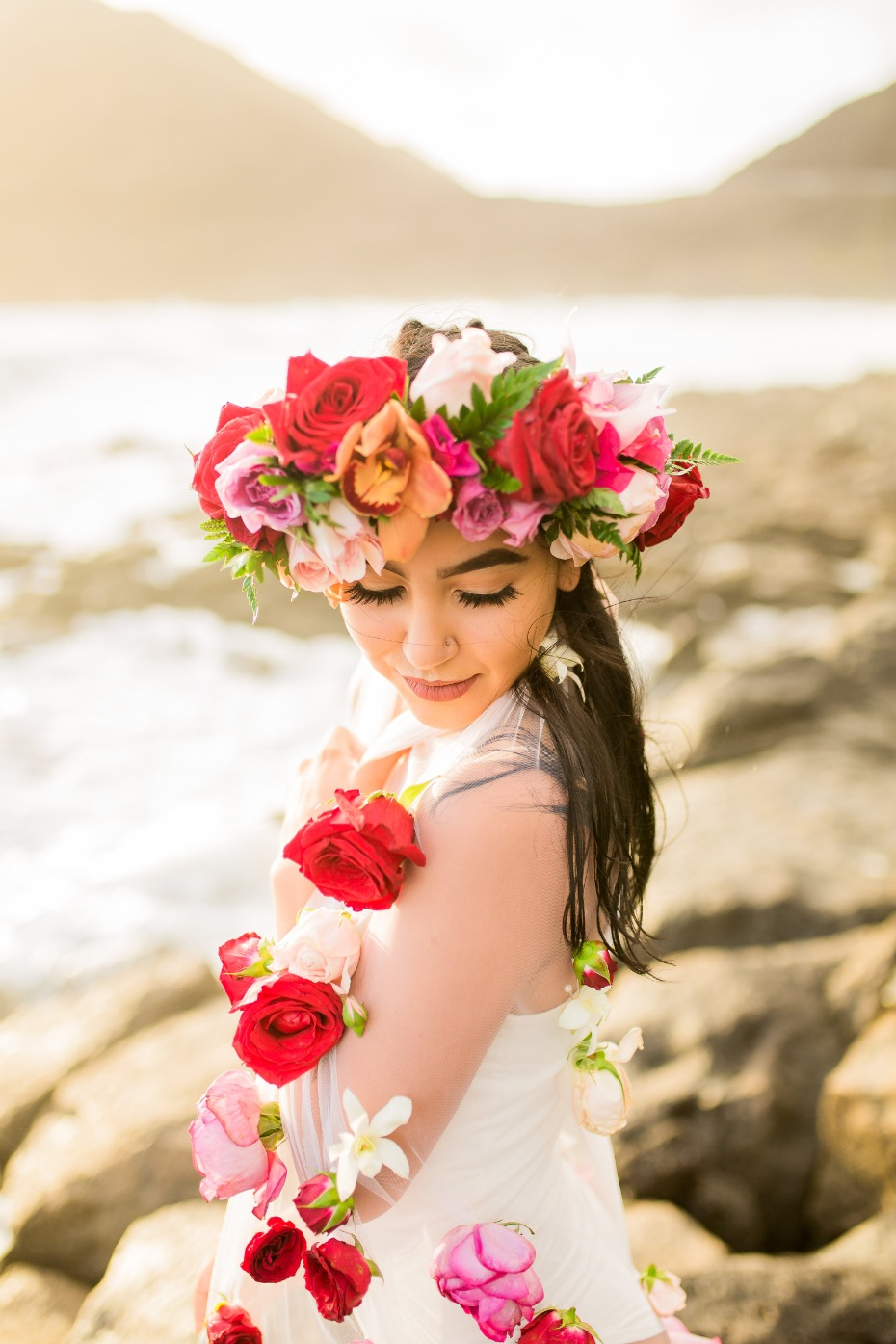 Boho bridal portrait session in Hawaii