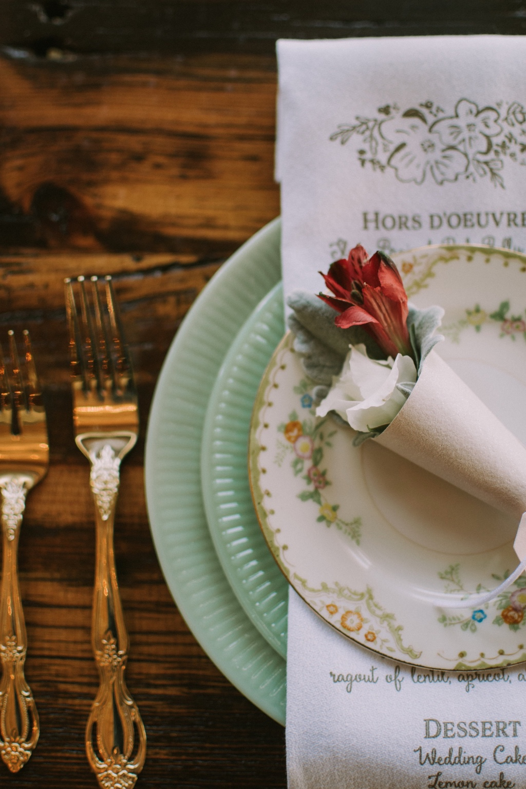 Your wedding menu printed on cloth napkins, by Lucky Invitations.