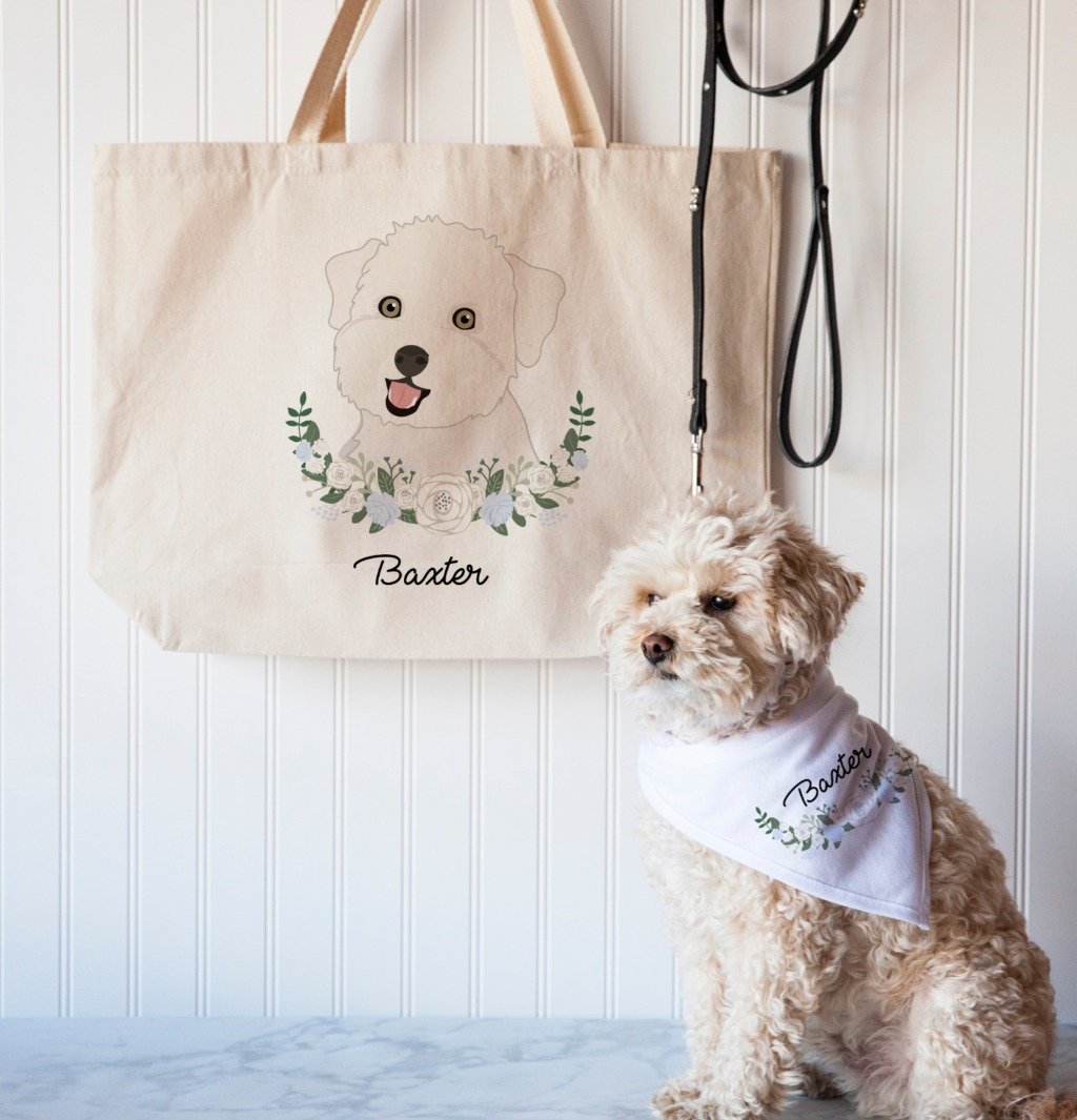 Let's talk about this Tote Bag and Pet Bandana Gift Set because I am IN LOVE!! Rep your pet's face on a tote bag while they strut around