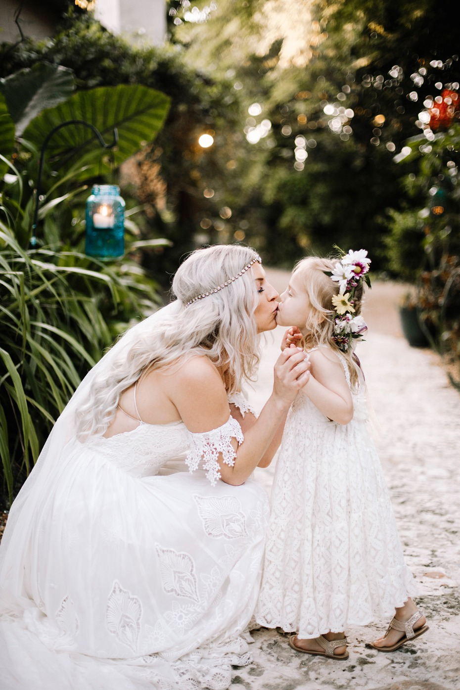 a bride and her flower girl