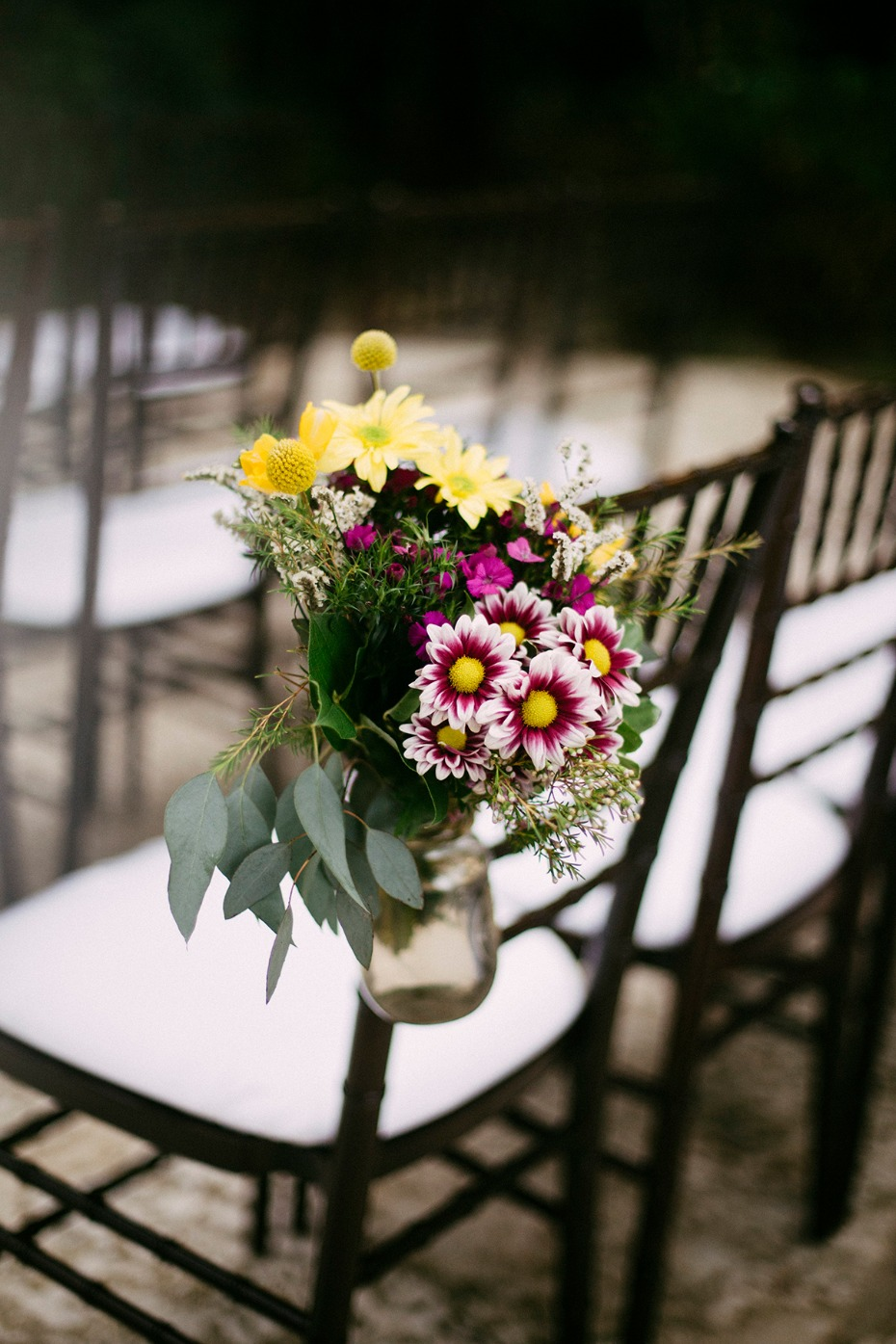 simple and sweet floral wedding aisle decor