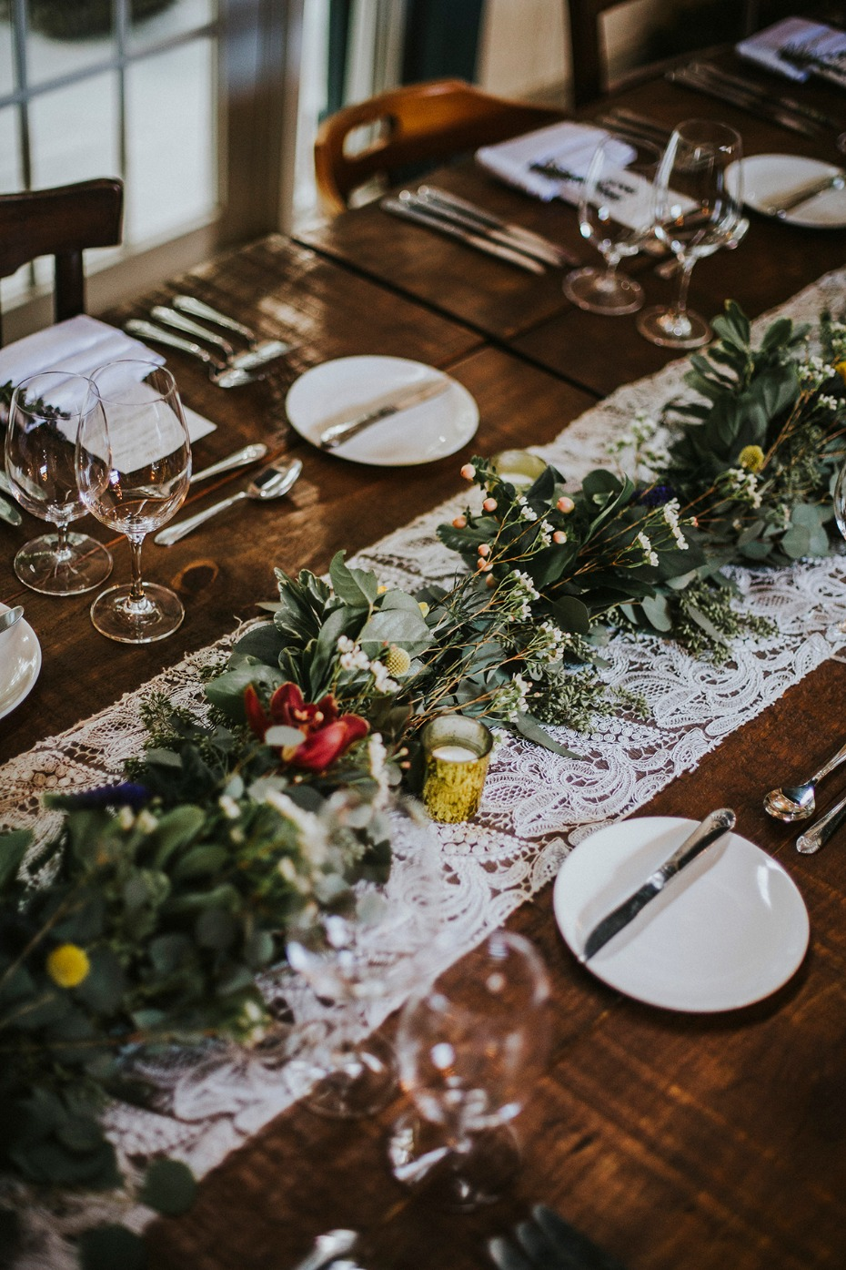 lacy table runner and wildflower garland