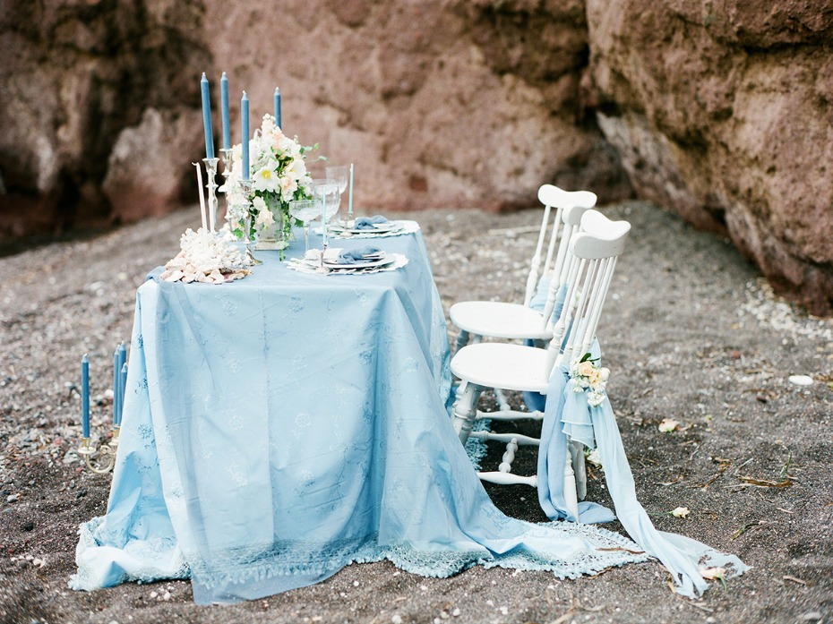 blue and white beach wedding