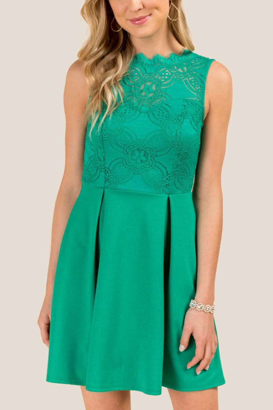 Francesca's Pleated A-line Dress in Jade