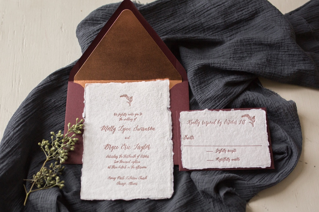 Handmade paper + Letterpress + Copper / Rose Gold + Burgundy = Romantic Invitation Suite , by Lucky Invitations.