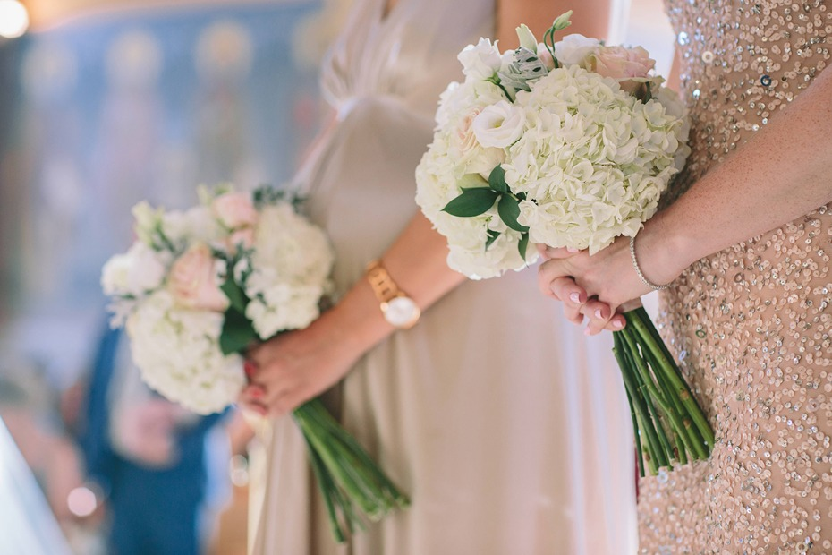 simple white and blush bouquets