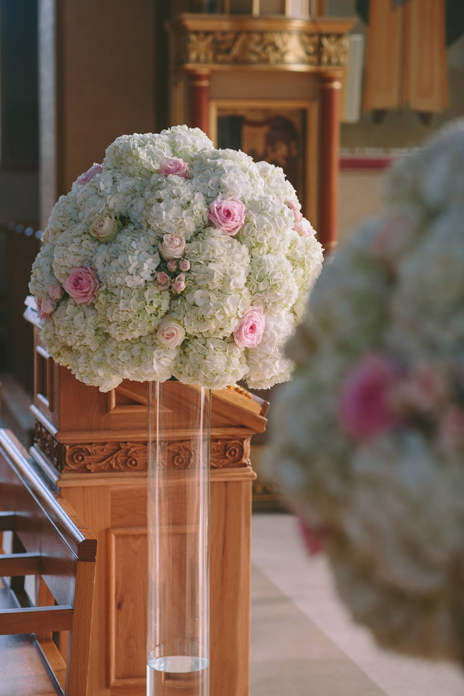floating white and pink floral decor