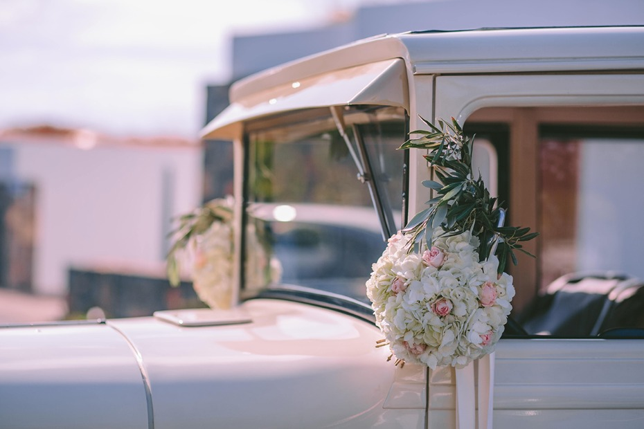 flower accented wedding transportation