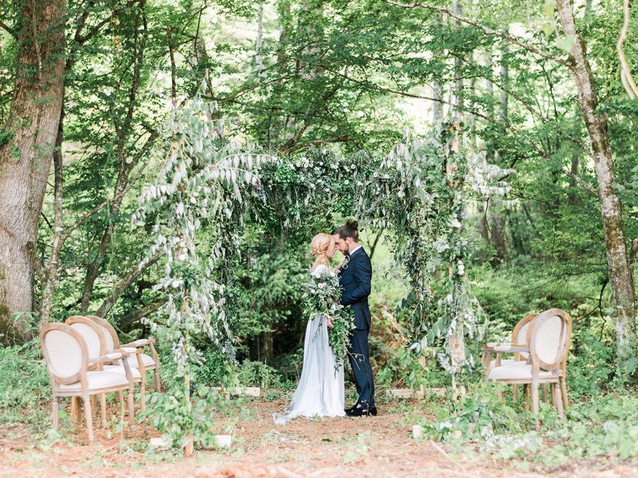 romantic over grown greenery forest wedding
