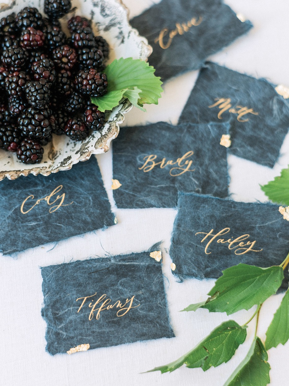 blue and gold place card idea