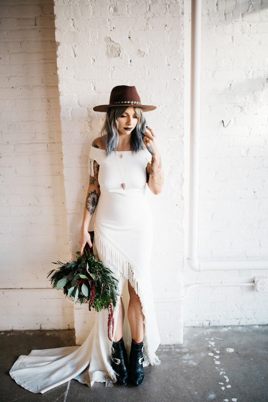 Edgy boho bridal look