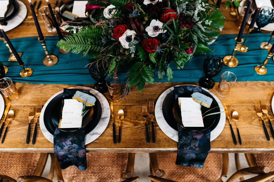 Edgy glam wedding reception table setting