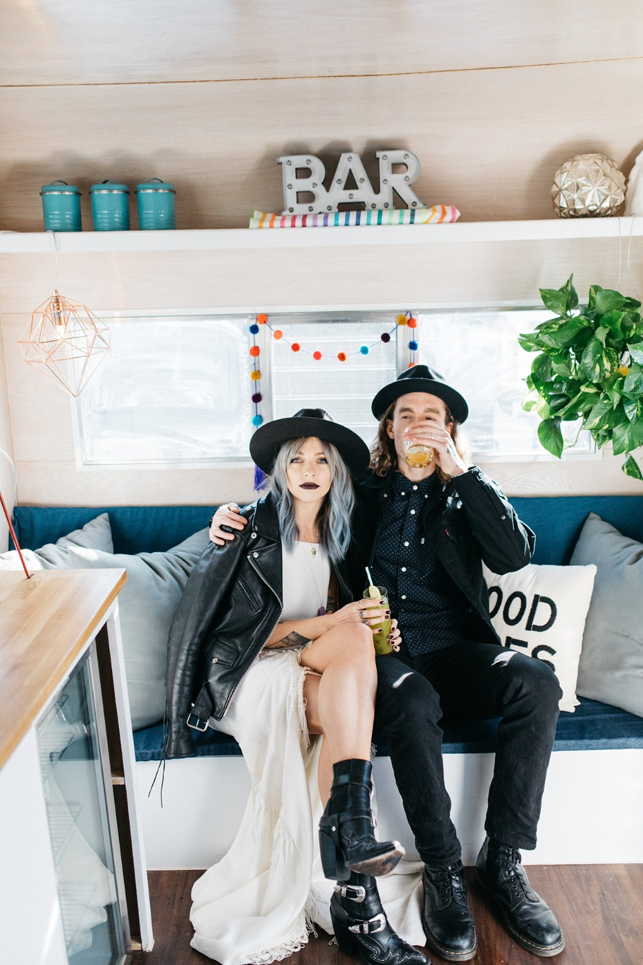 Caravan wedding bar for an edgy glam wedding