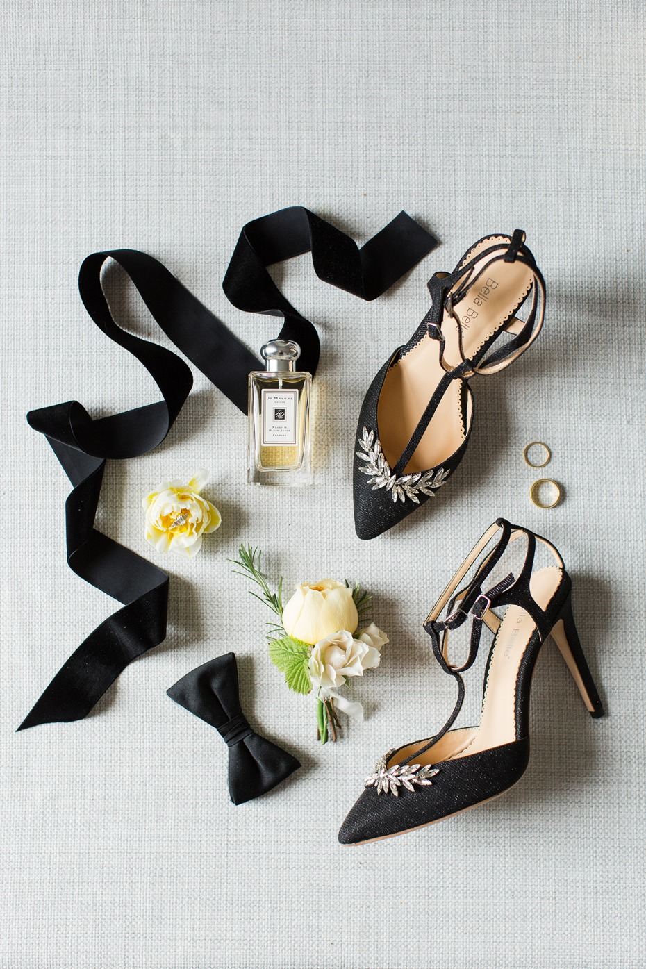 black and crystal accented wedding shoes