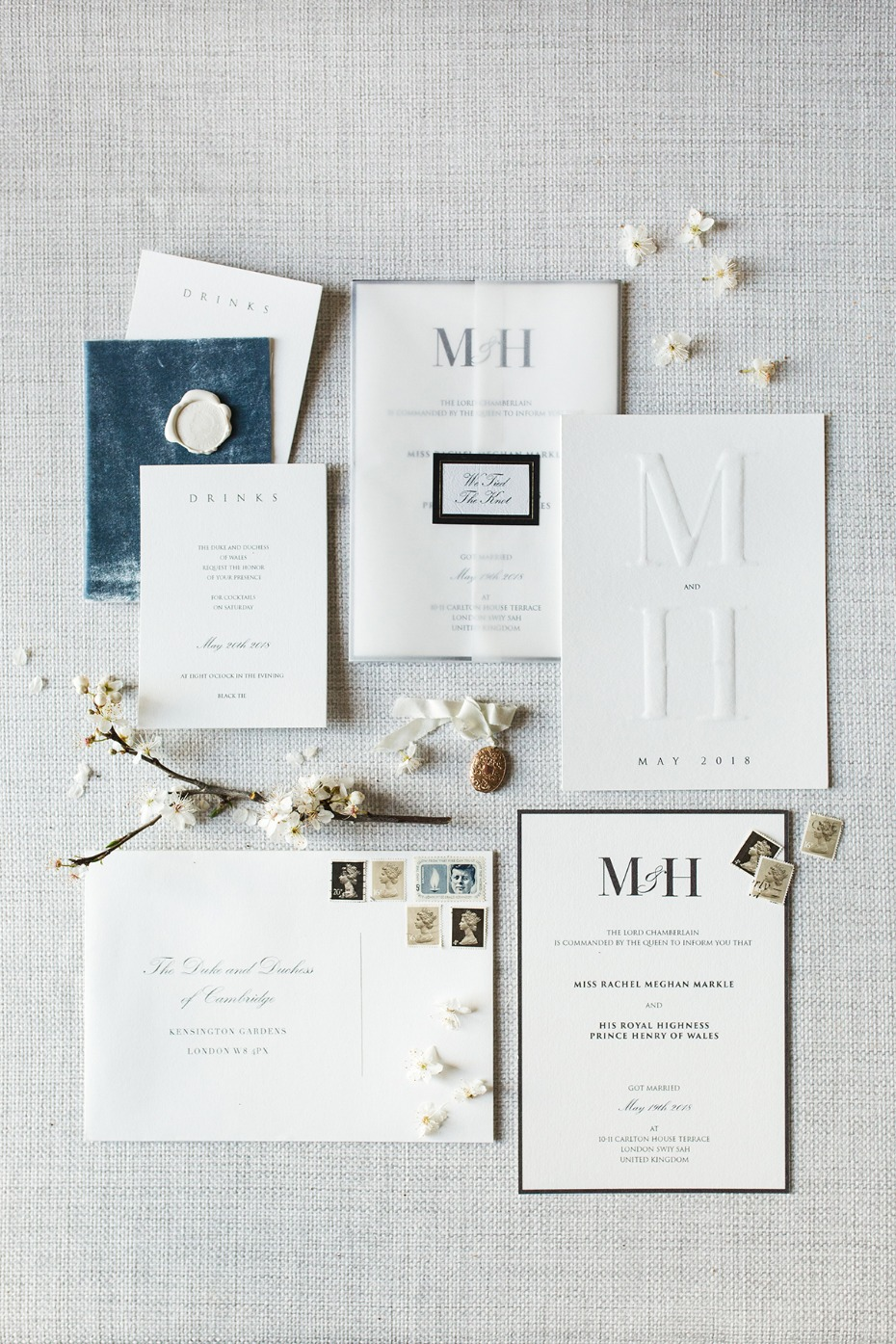 elegant and classy monogrammed wedding invitation suite