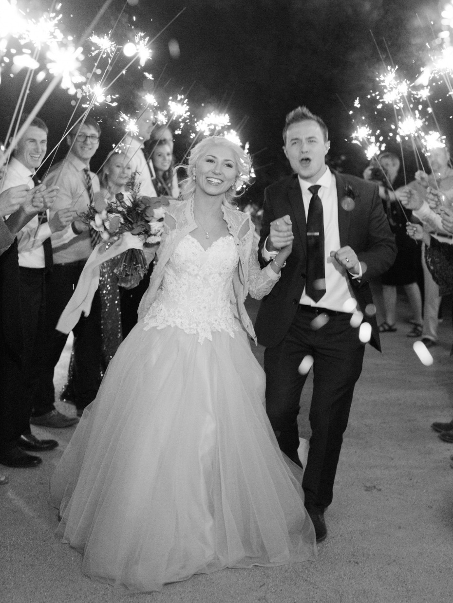 Sparkler exit for the newlyweds