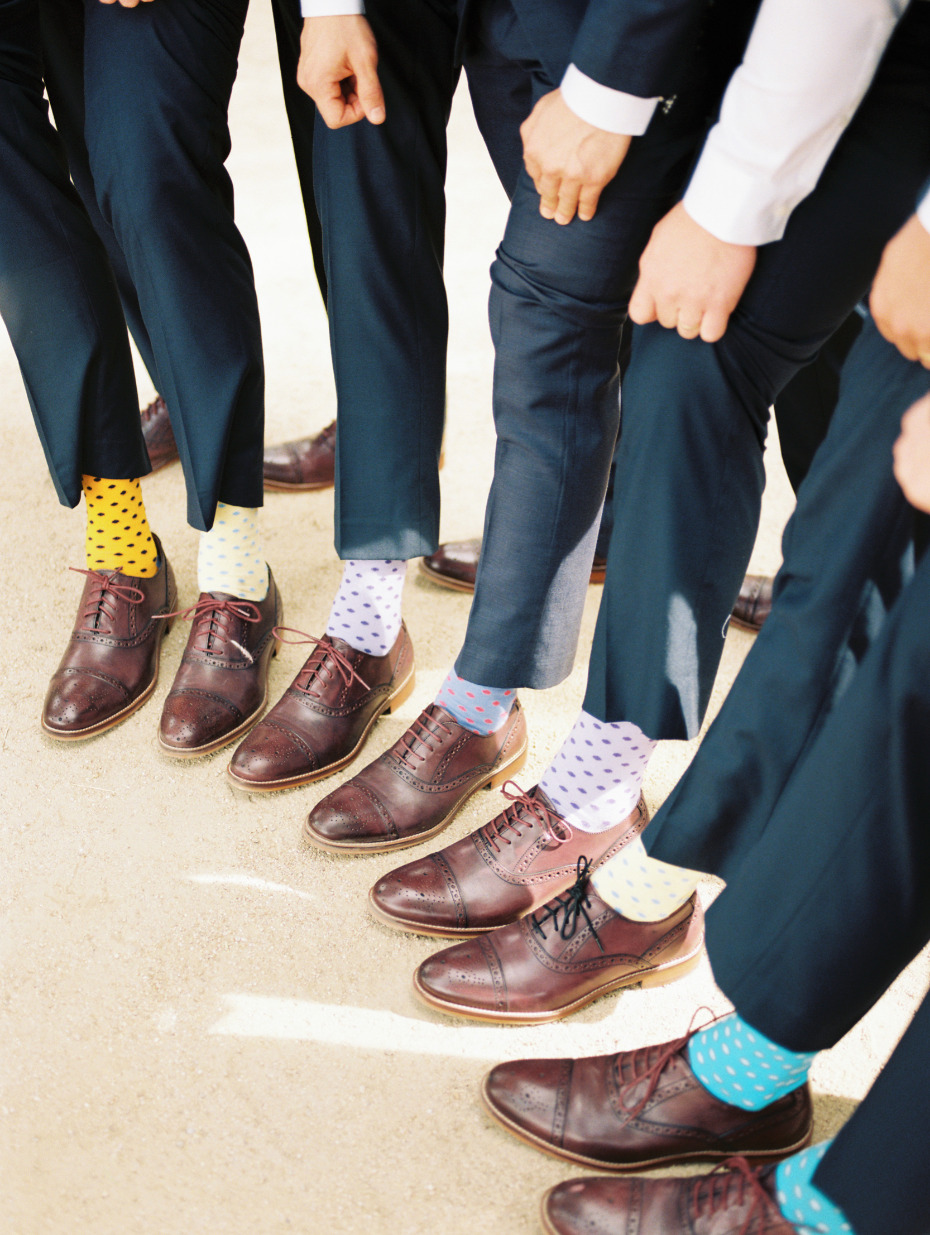 Polka dot groomsmen socks