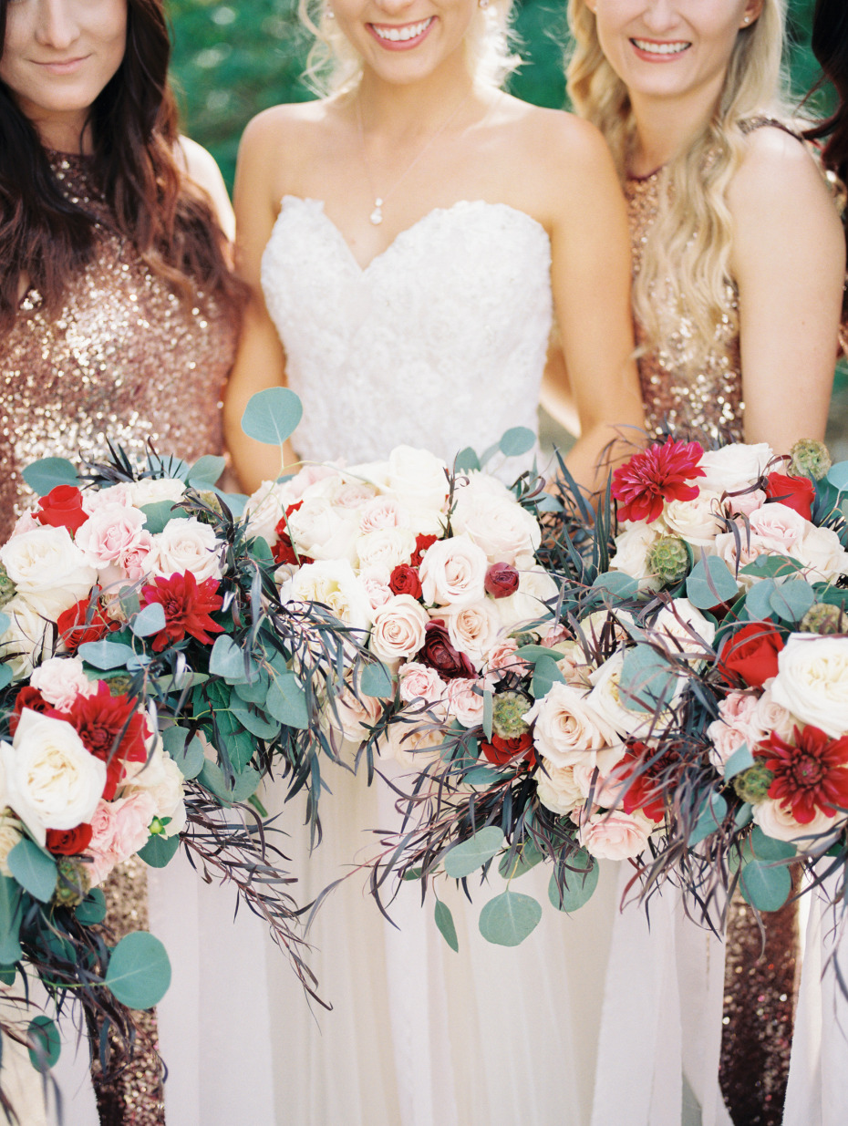 Red white and blush bouquet