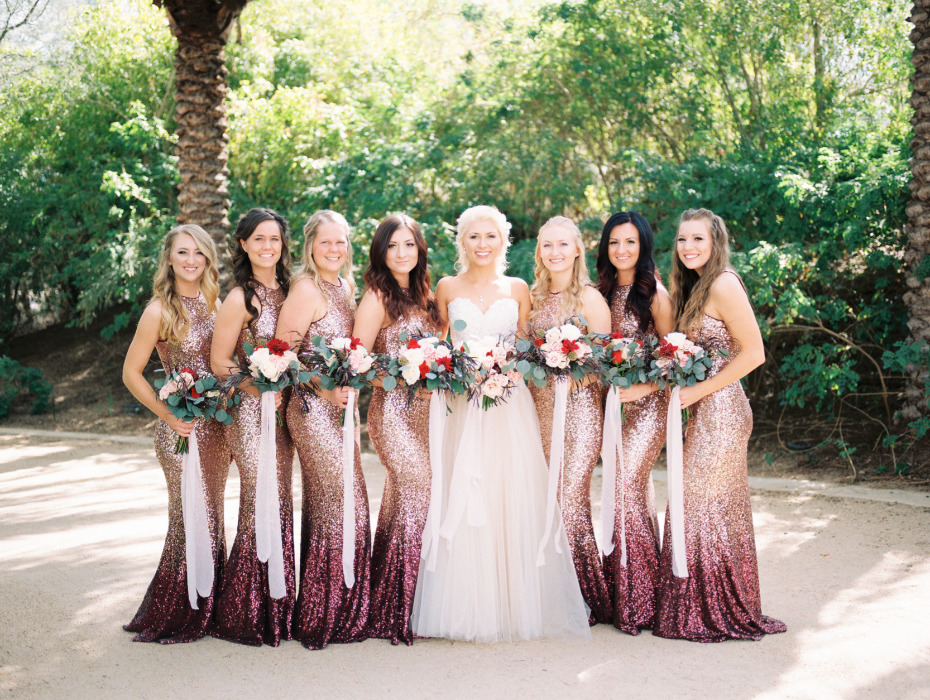Ombre sparkle bridesmaid dresses