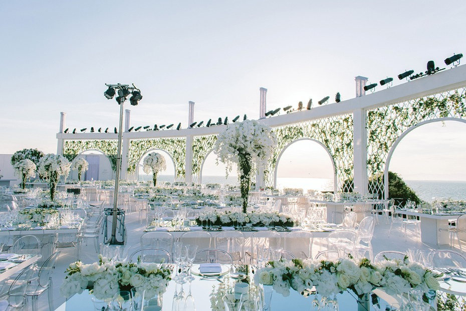 all white wedding reception in Greece