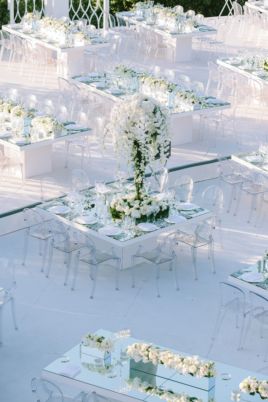 over the top mirror topped reception tables