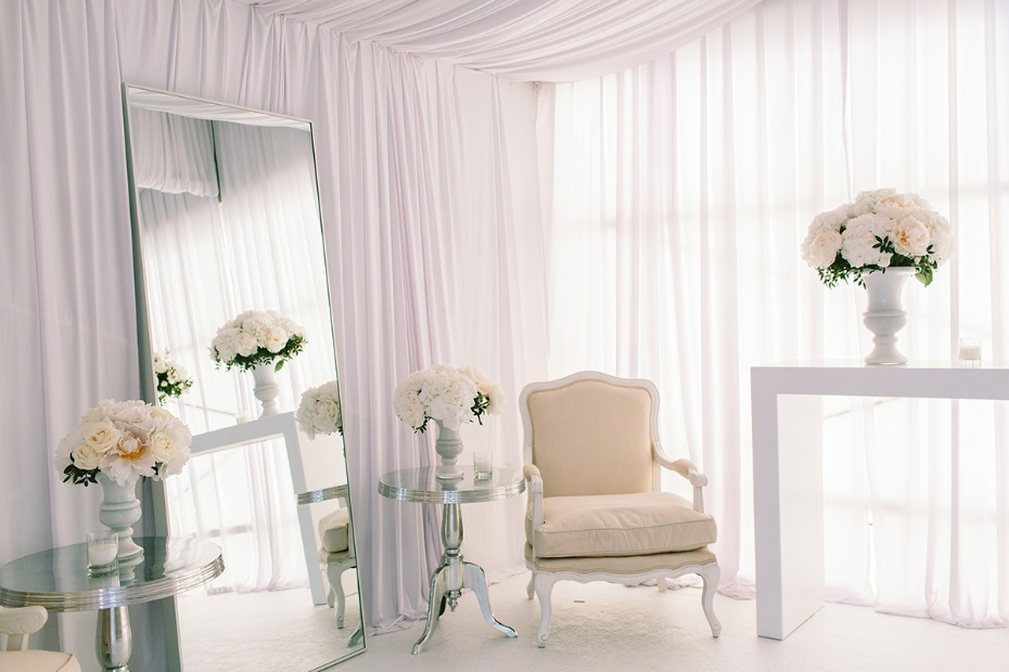 all white wedding dressing room