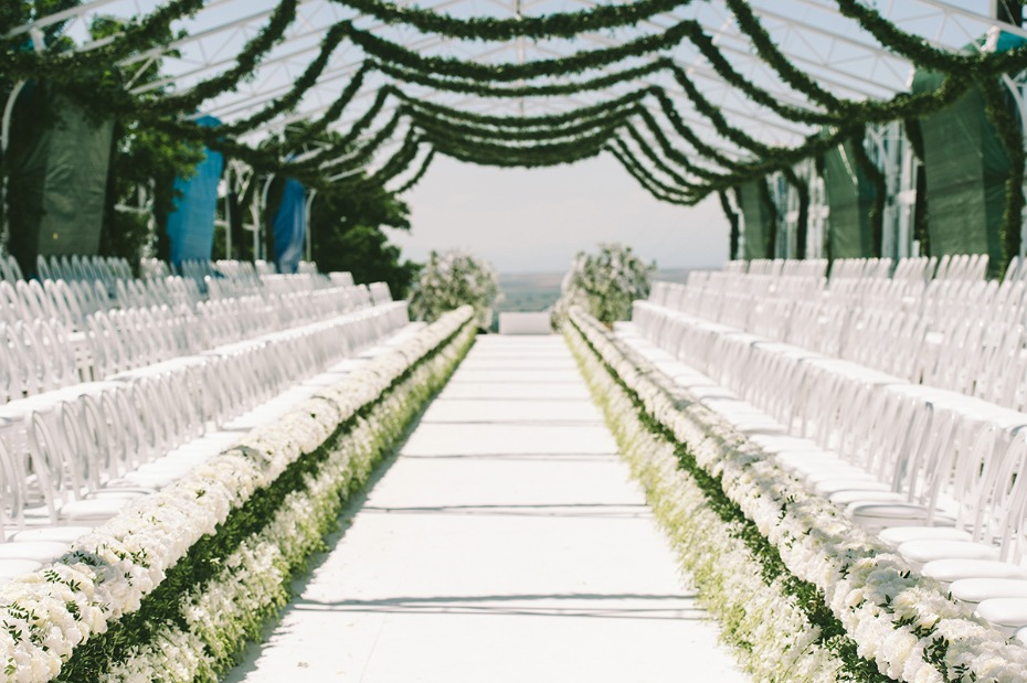 fashion runway style wedding ceremony seating