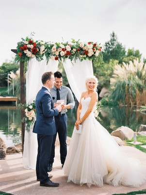 Red And Blush Airbnb Backyard Wedding