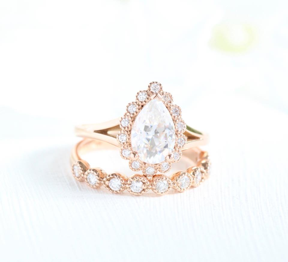The vintage inspired details in this Moissanite Bridal Set are incredible! See more Moissanite Bridal Sets from La More Design ~