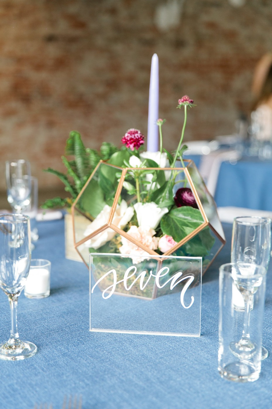 garden terrarium centerpiece and plexiglass table number