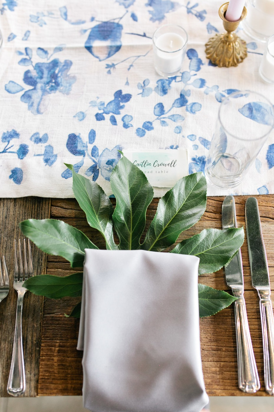 giant leaf at each place setting