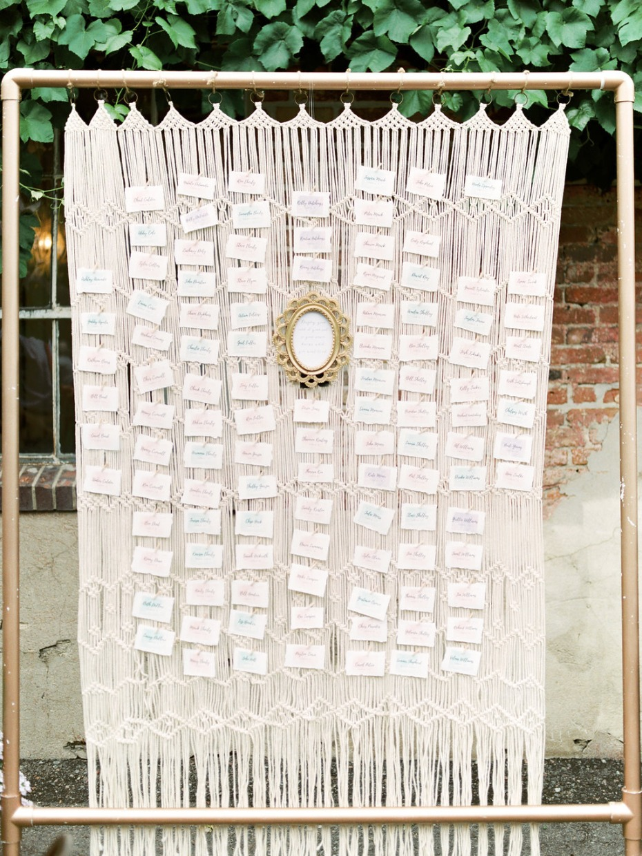 macrame wedding escort card display idea