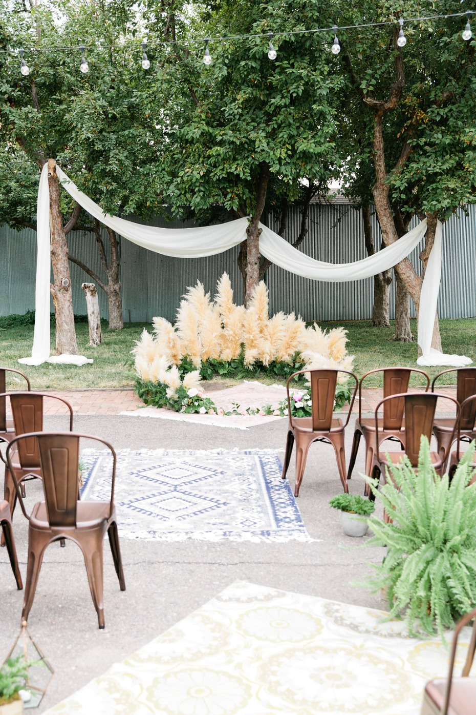 outdoor wedding ceremony with with a hip modern vibe