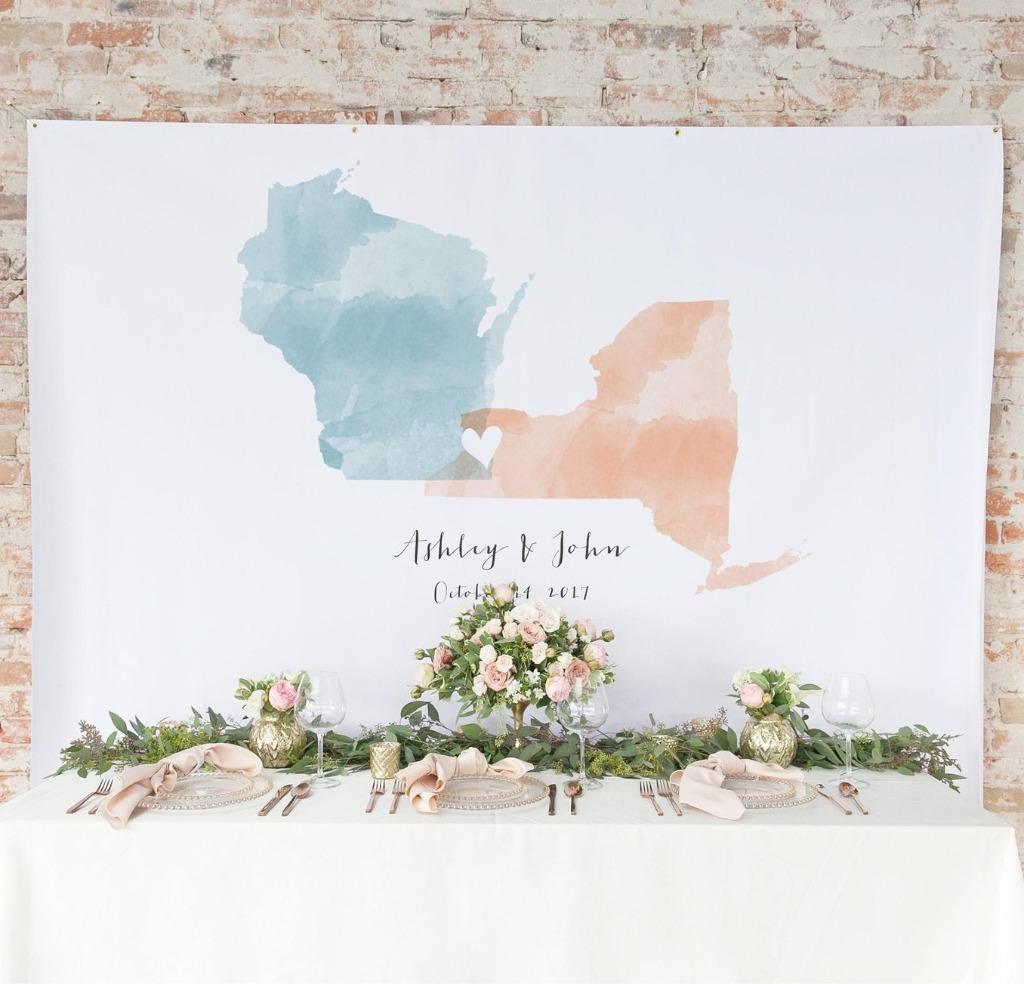 Want a super awesome backdrop for your big day? At Miss Design Berry, we've got you covered! This one features the two (or three!)