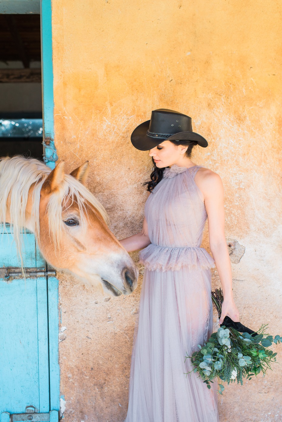 Blush wedding dress for a modern farm wedding