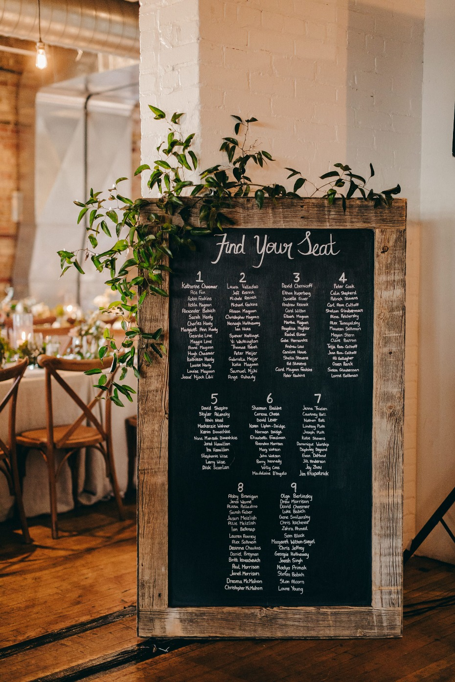Simple chalkboard seating chart