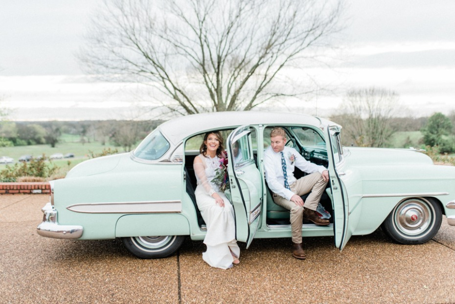 sea foam wedding car