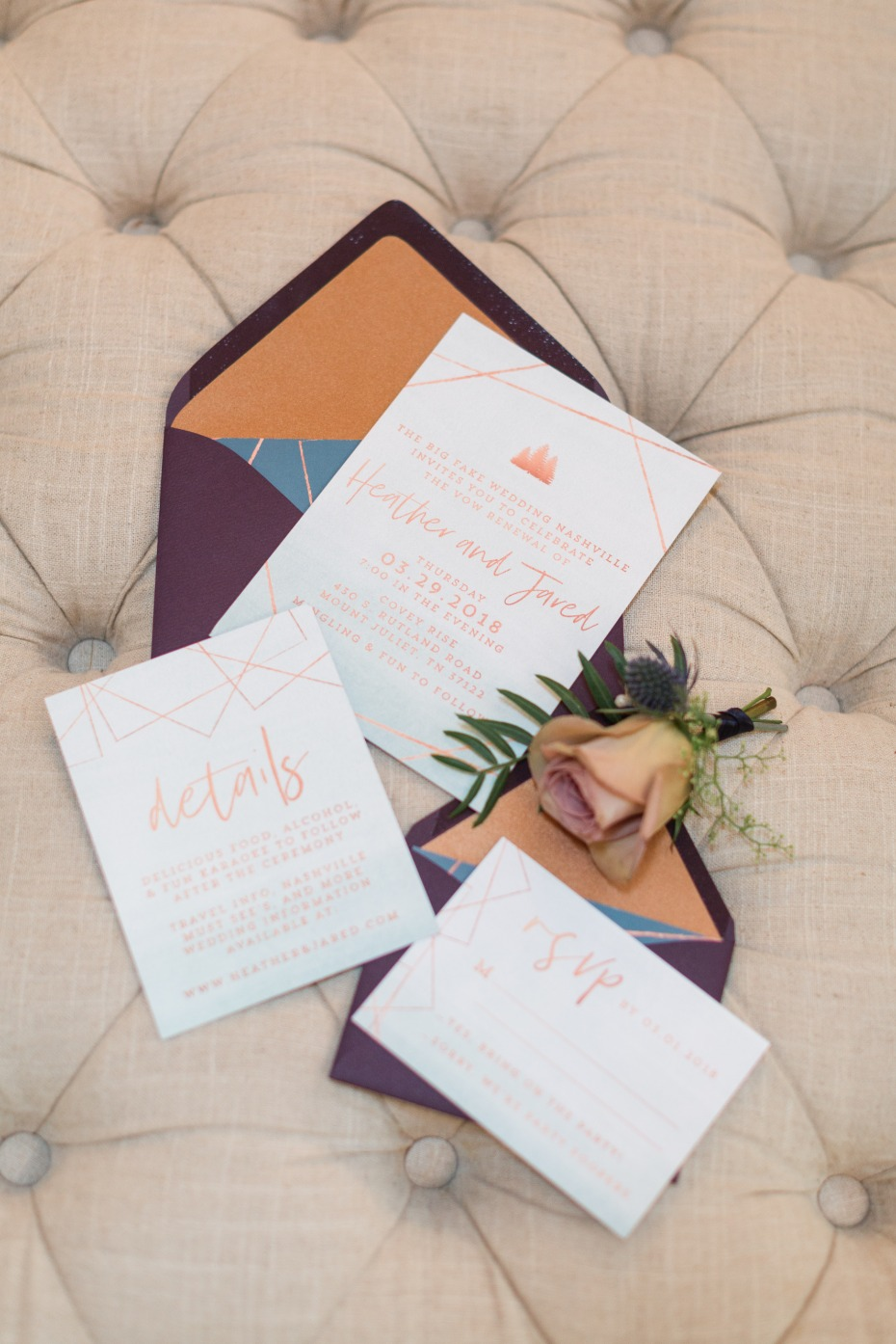 wedding invitation suite with a modern twist