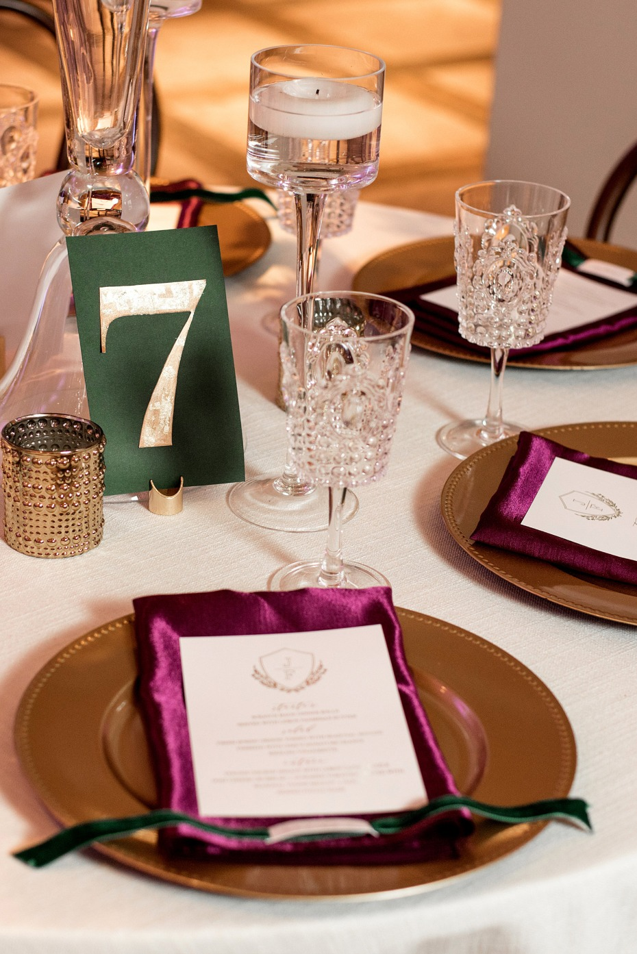 elegant and jewel toned wedding place setting