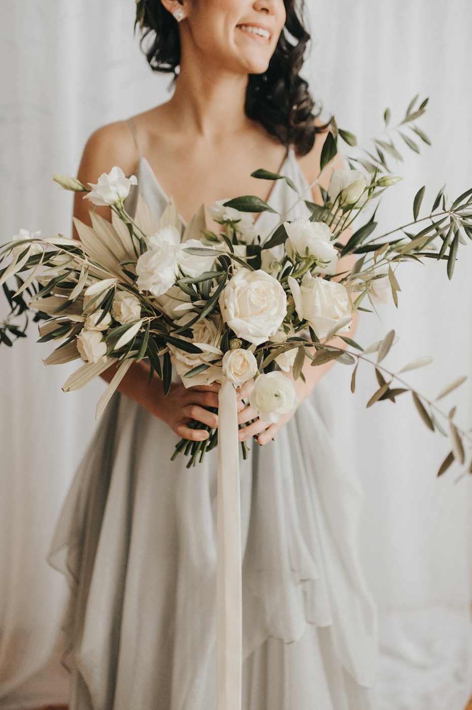olive branch and white rose wedding bouquet
