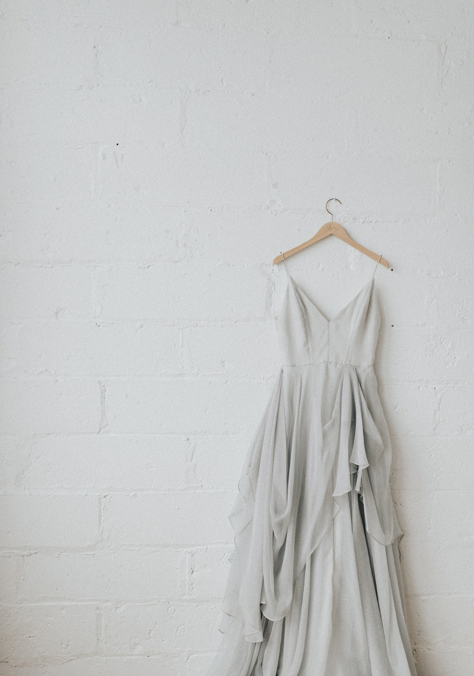 soft grey and modern wedding dress