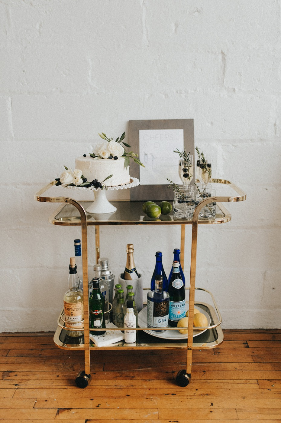 wedding bar and cake table